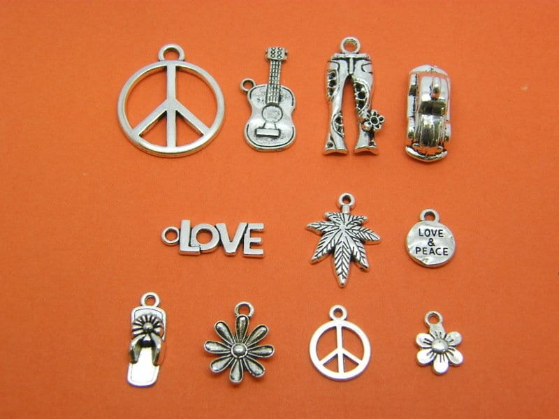 The Hippie Peace Charm Collection - 11 different antique silver tone charms
