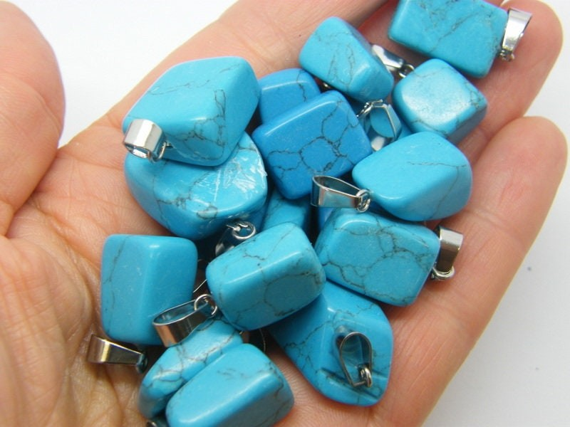 2 RANDOM shaped synthetic turquoise pendants stainless steel bail M471
