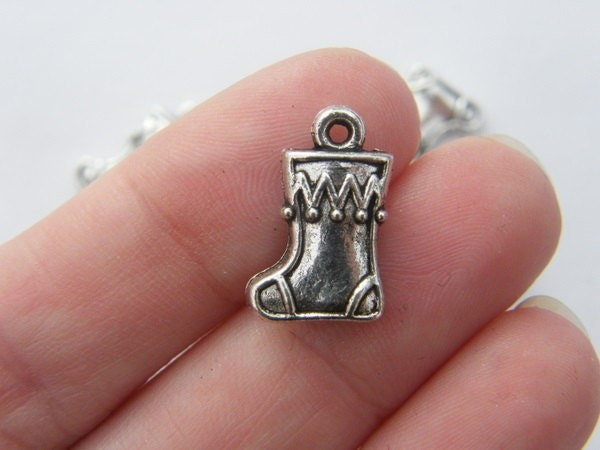 10 Christmas stocking charms tibetan silver CT49
