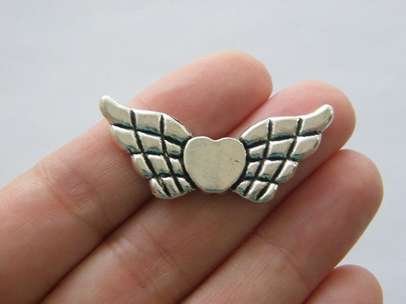 6 Angel wing heart bead antique silver tone AW106