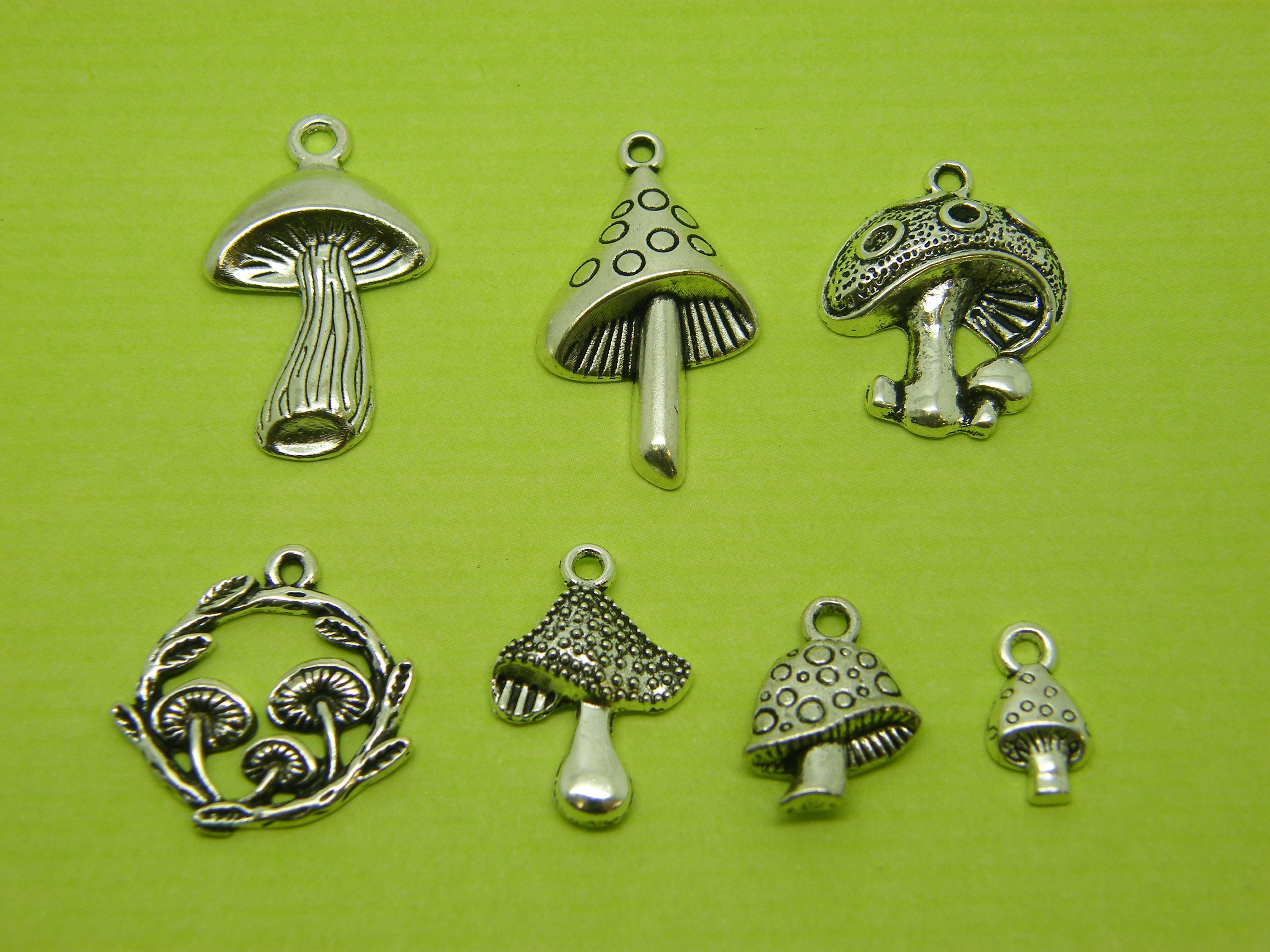 The Mushroom Collection - 7 different antique silver tone charms