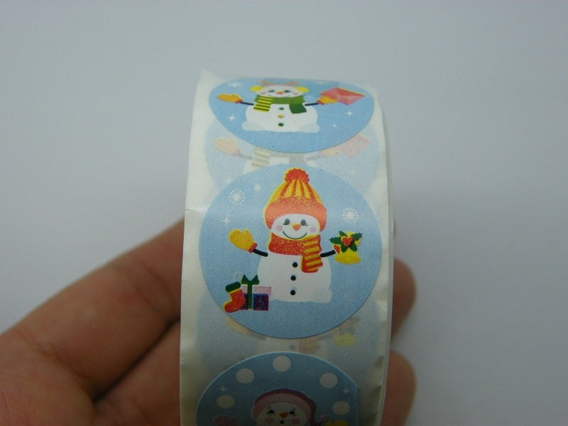 1 Roll Christmas snowman blue 500 stickers