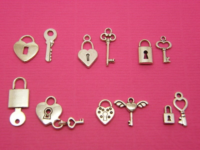 The Lock and Key Collection - 12 different antique silver tone lcharms