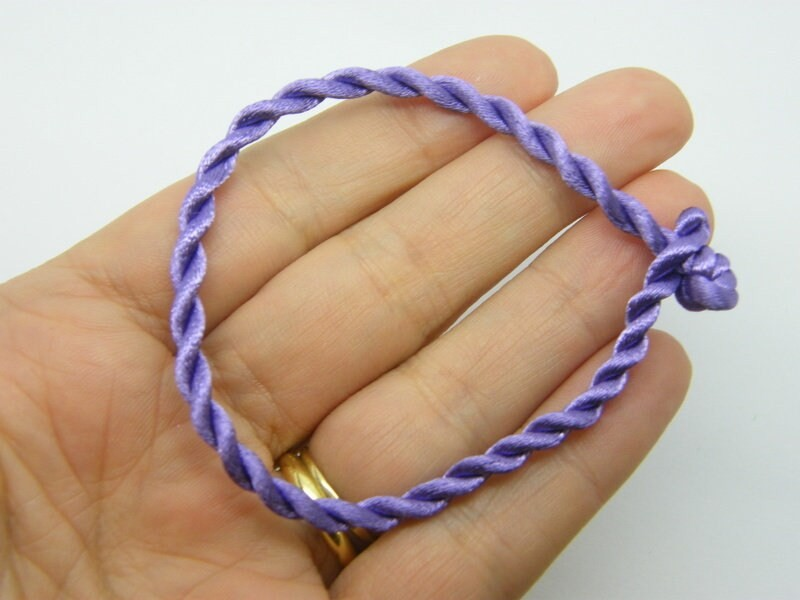 8 Purple cord bracelets 19cm FS