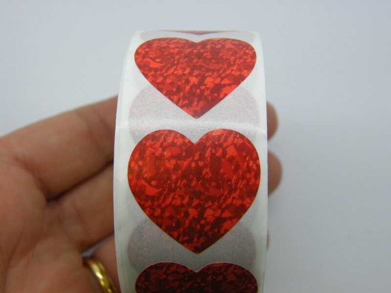 1 Roll 500 red heart pattern stickers Style 5