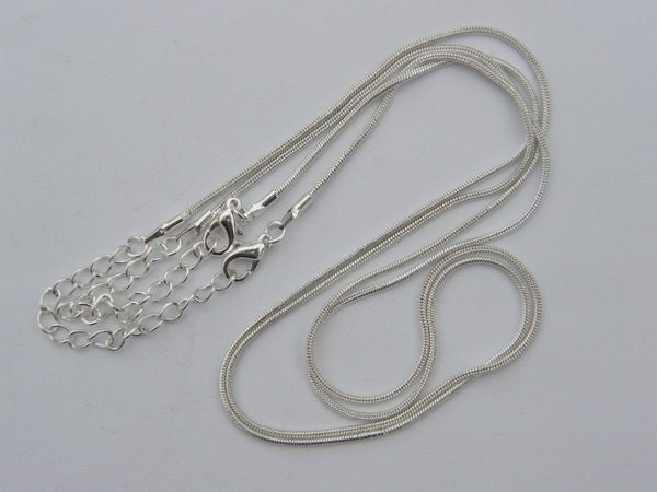 "2 Necklace chains 46cm 18"" silver plated with extension FS118"