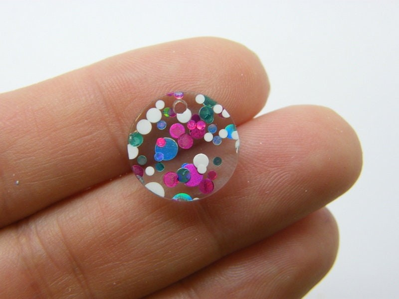 8 Glitter sequins charms clear blue silver pink resin M170
