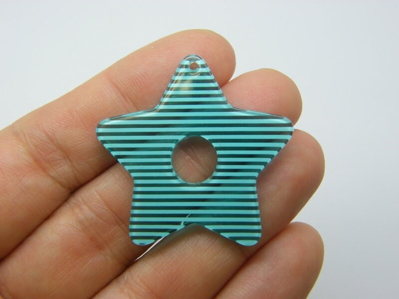 BULK 10 Star pendants clear and blue stripe resin S290