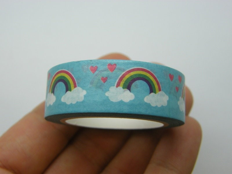 1 Roll blue rainbow cloud red heart washi tape ST