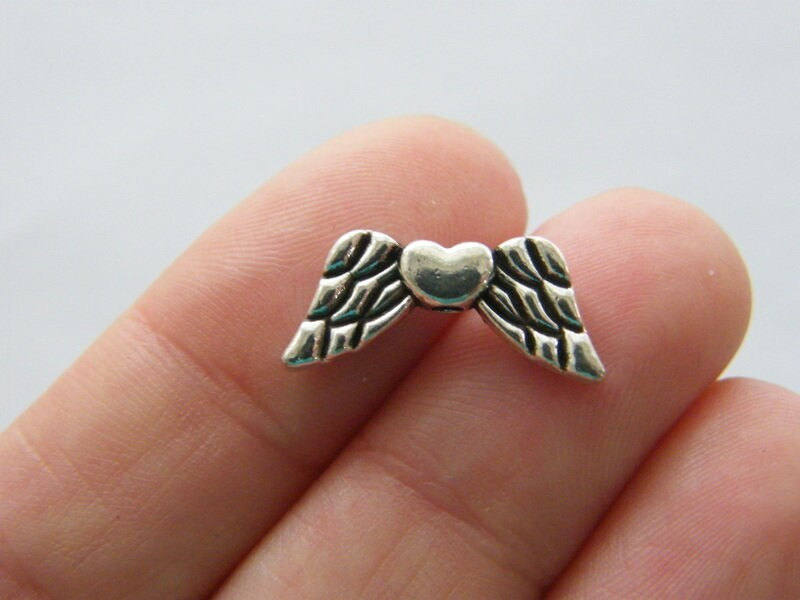12 Angel wing heart spacer beads antique silver tone AW95