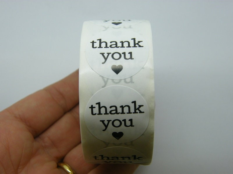 1 Roll thank you heart black white 500 stickers