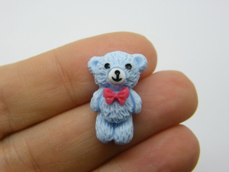 10 Teddy bear embellishment cabochons blue resin P264