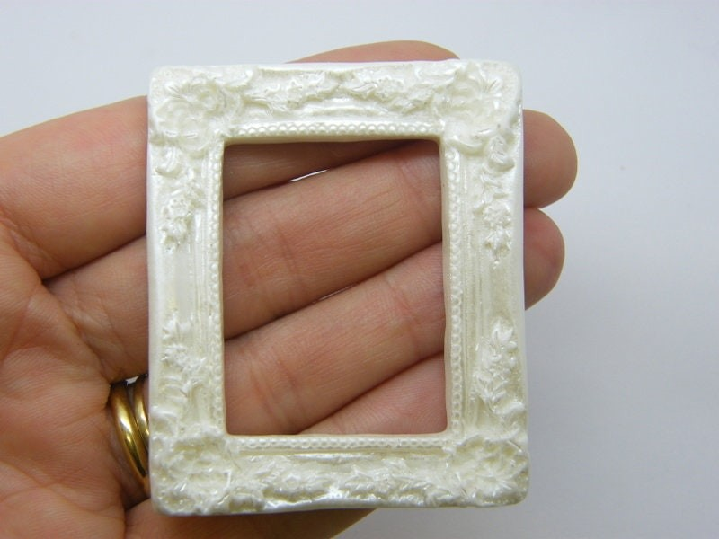 4 Picture painting frame embellishment cabochon AB white resin P632