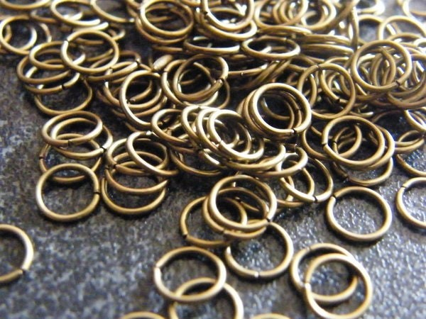 200 Jump rings 6mm antique bronze tone
