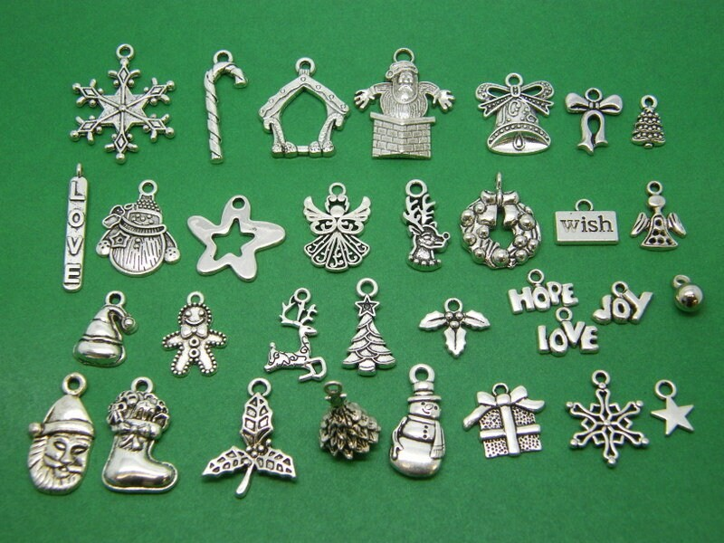 The Mega Christmas Collection - 32 different antique silver tone charms