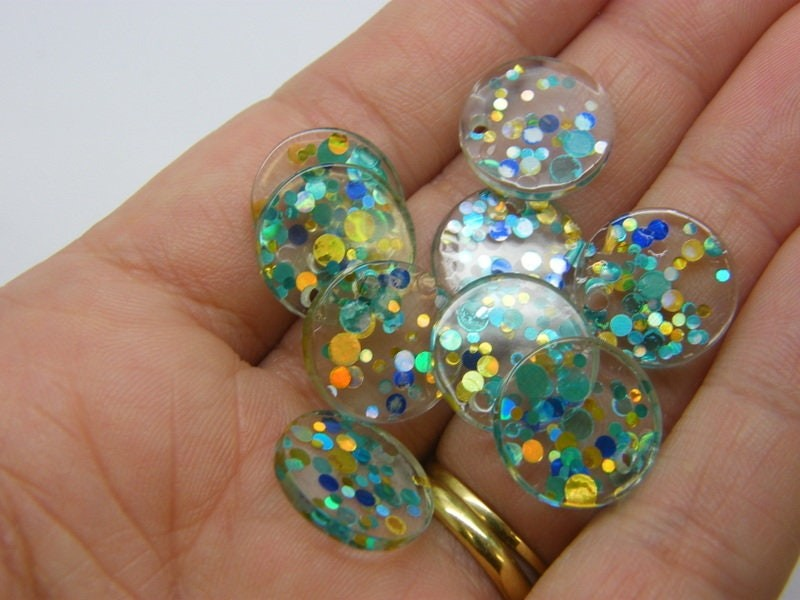 BULK 50 Glitter sequins charms clear blue silver gold resin M30