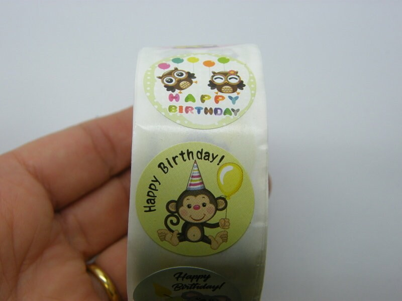 1 Roll 500 Happy birthday animal stickers