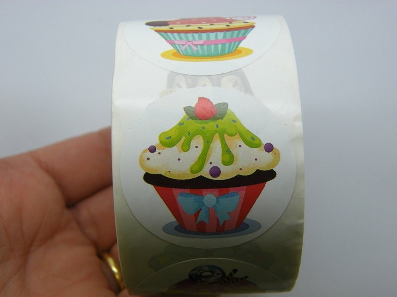 1 Roll 500 Cup cake stickers 005B