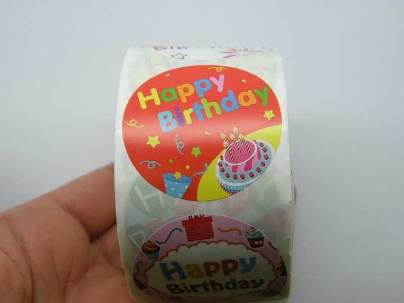 1 Roll 500 Happy birthday stickers C02