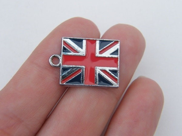 2 United Kingdom flag charms silver tone WT83