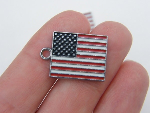 2 United States flag charms silver tone WT84