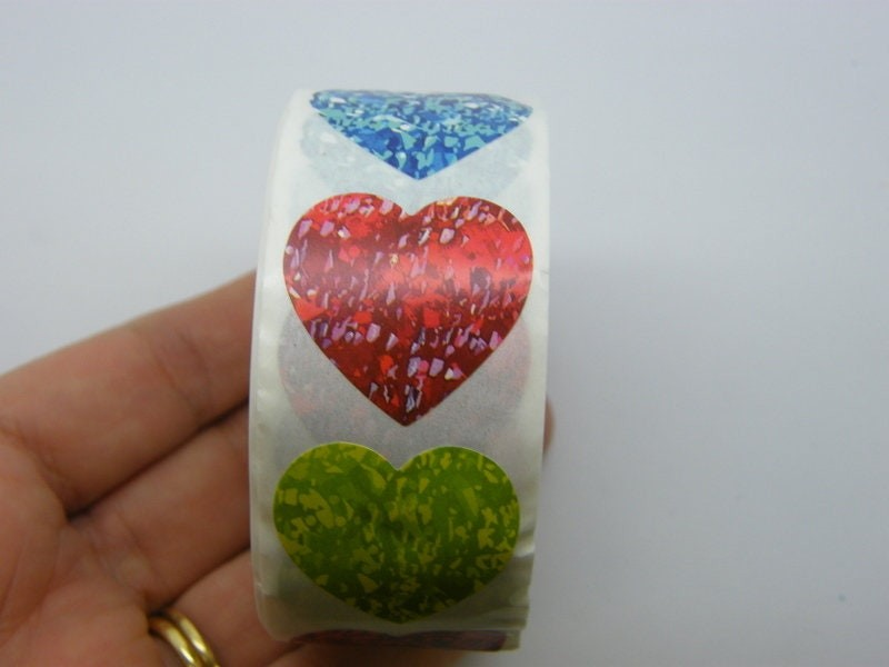 1 Roll 500rmixed heart pattern stickers Style 6