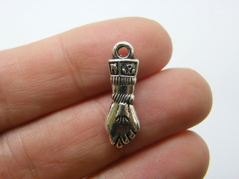 12 Hand charms antique silver tone M245