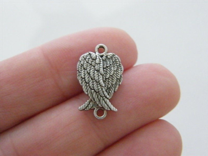 6 Angel wing connector charms antique silver tone Aw18