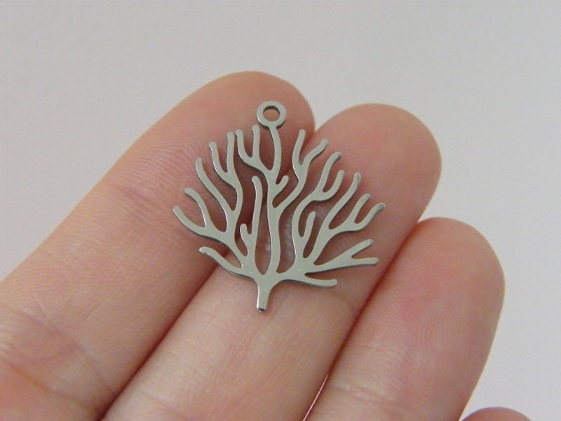 1 Coral sea weed pendant silver stainless steel FF
