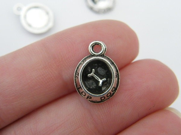 6 Dog bowl charms tibet silver A895
