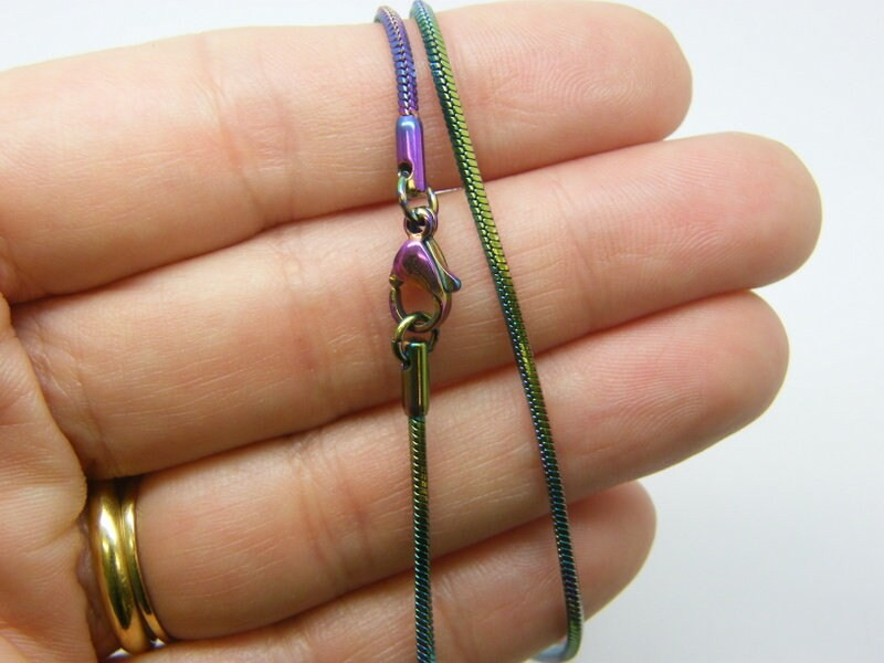 1 Multi colour stainless steel necklace 55cm 21.65 inches FS124