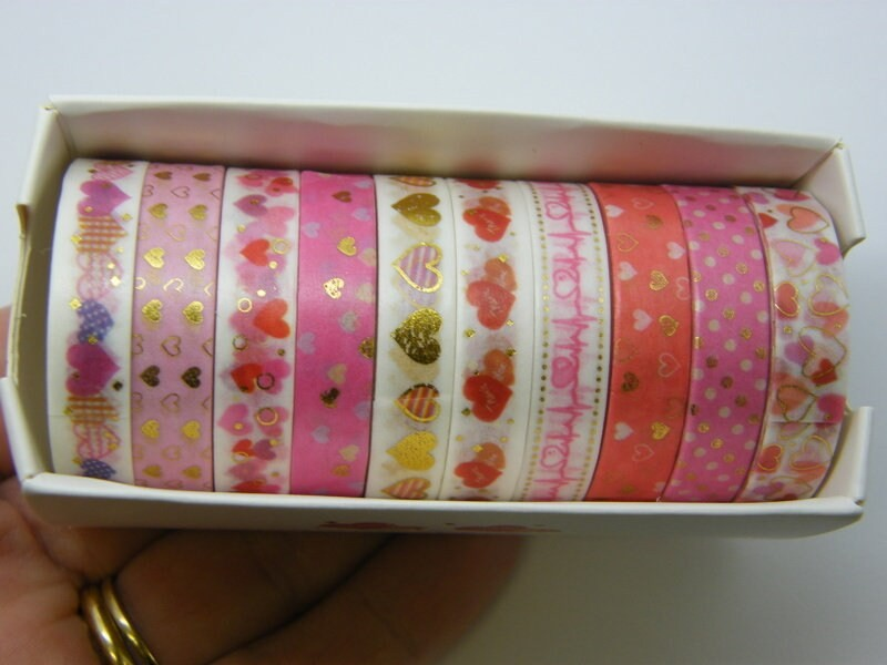 1 Set of 10 different heart tape box ST