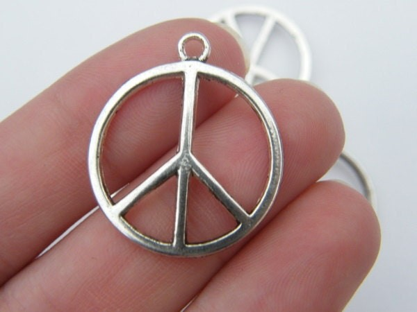 8 Peace sign charms  antique silver tone P2