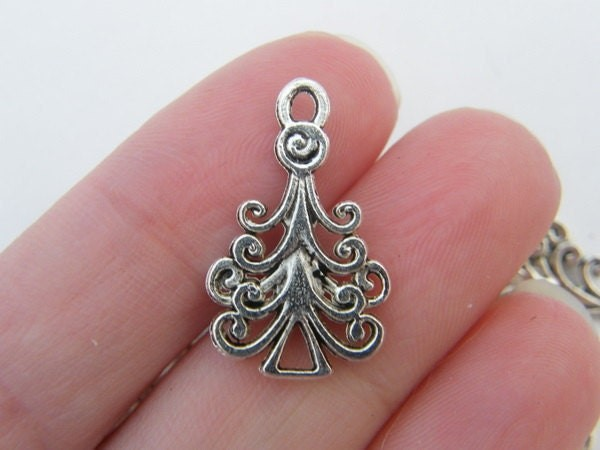 BULK 50 Christmas tree charms antique silver tone CT20