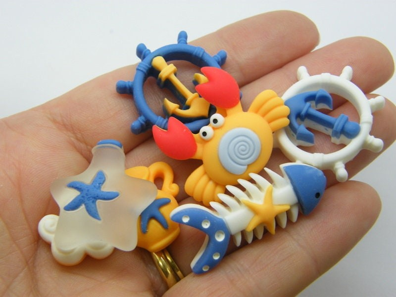 8 Nautical cabochons collection resin FF120