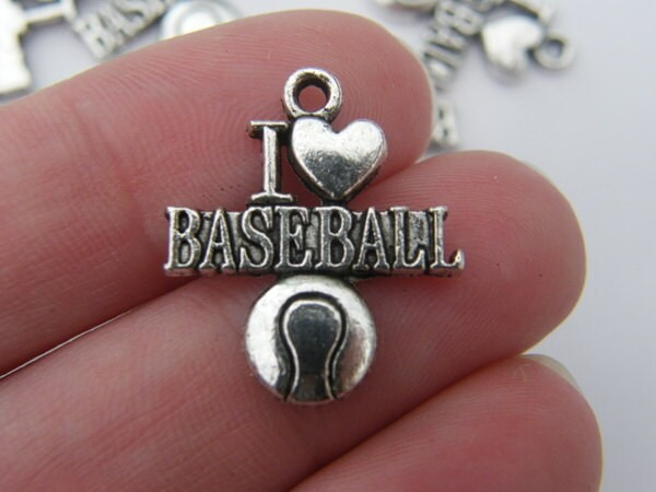 5 I love baseball charms tibetan silver SP38