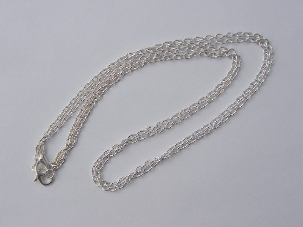 "2 Necklace chains 46cm 18"" silver plated"