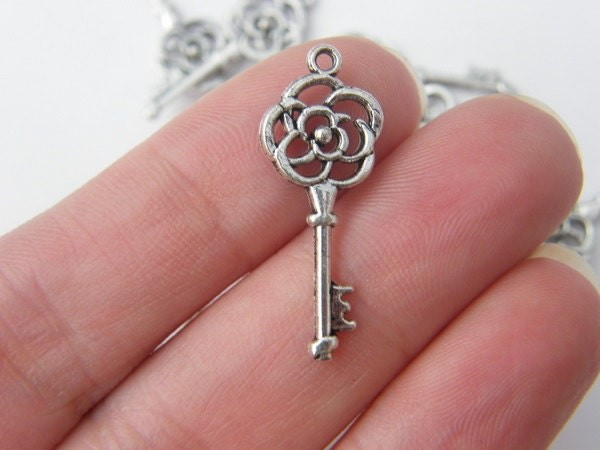 BULK 50 Rose key charms antique silver tone K10