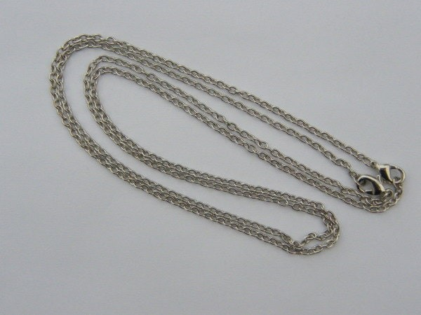 BULK 12 Necklace chains 62cm silver tone