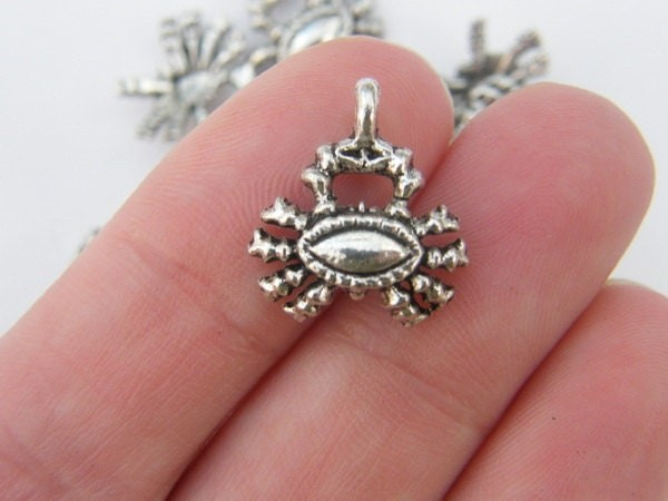 10 Crab charms antique silver tone FF95