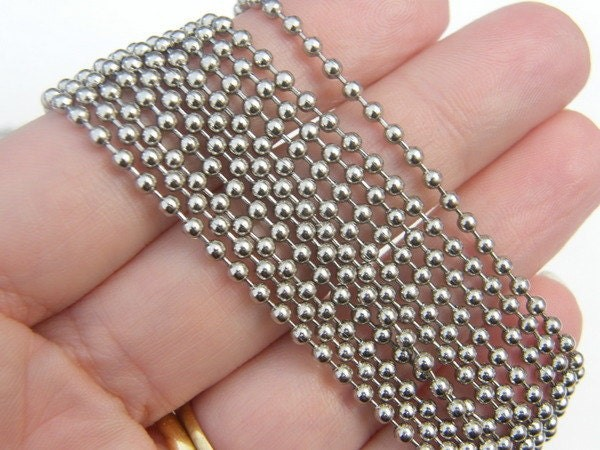 10m Ball chain  2.4mm silver tone FS493