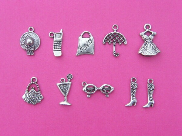 The Out and About Collection - 10 antique silver tone charms