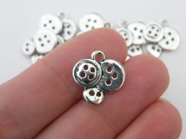BULK 50 Buttons charms antique silver tone P516