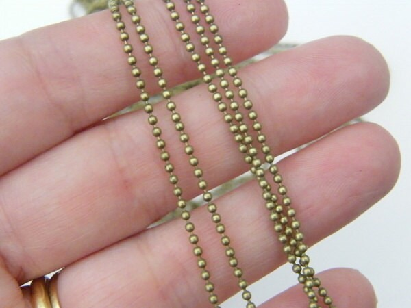 10m Ball chain 1.5mm bronze tone FS431