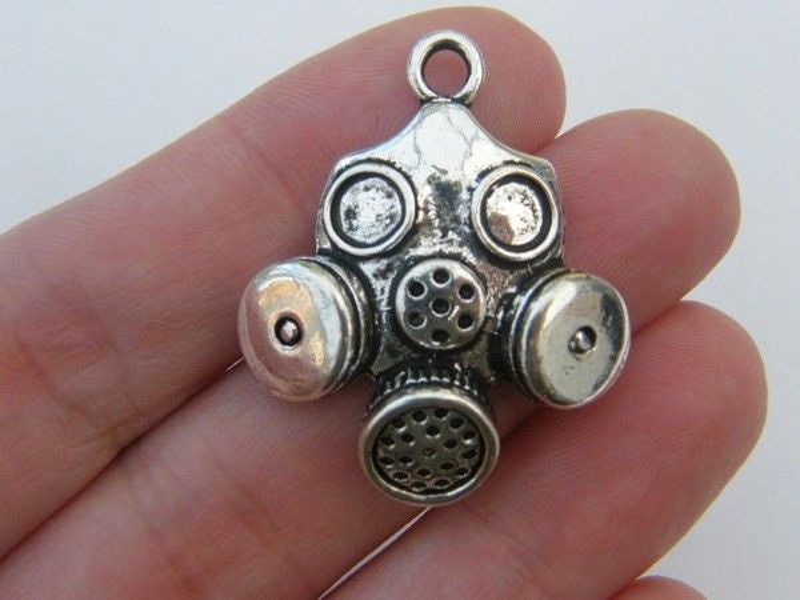 2 Gas mask pendants antique silver tone G23