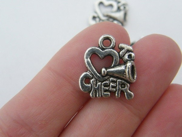 BULK 30 Love to cheer charms antique silver tone SP87