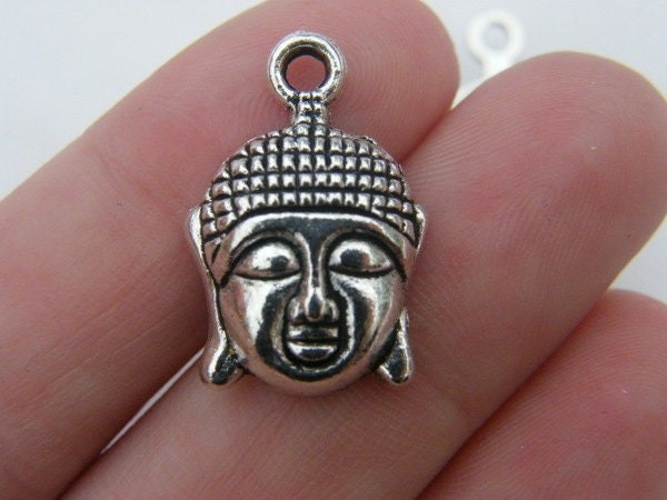 6 Buddha pendants antique silver tone R33