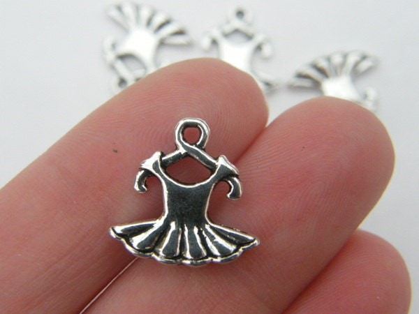 6 Dress charms antique silver tone FB25