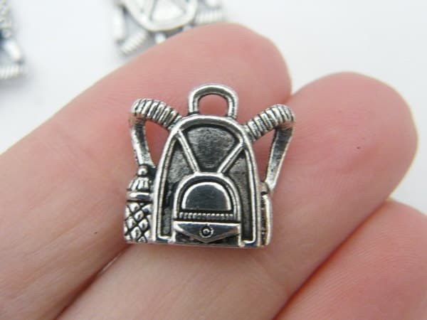 BULK 50 Backpack charms antique silver tone CA48