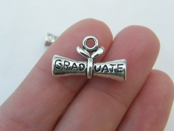 4 Graduate diploma charms antique silver tone PT34